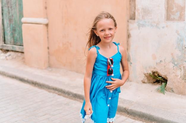 Tourist girl in popular area in havana, cuba.