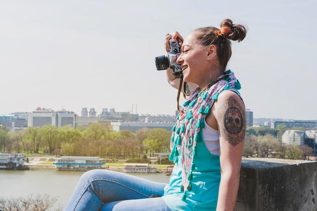 Ragazza, turista, presa, foto