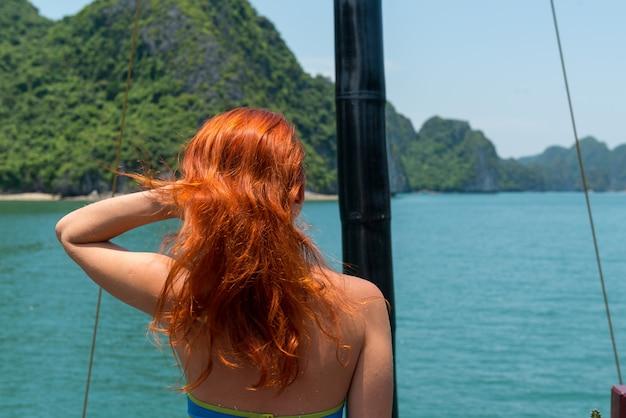 Tourist at halong bay