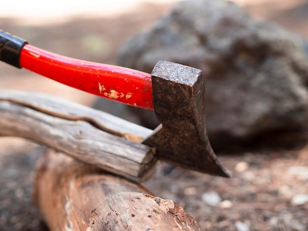 Tourist hatchet splitting log