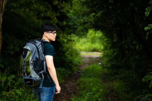 Туристические походы, прогулки в концепции леса джунглей. человек пеший туризм в одиночку на открытом воздухе активный образ жизни
