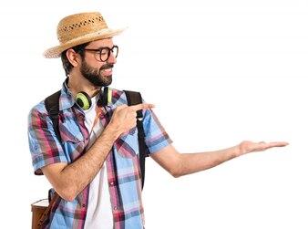 Tourist holding something