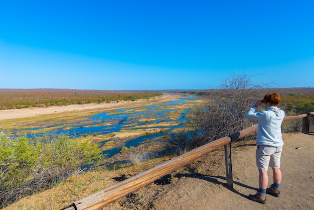 Tourist looking at panorama with binocular from viewpoint over the olifants river, scenic and colorful landscape with wildlife in the kruger national park, famous travel destination in south africa.
