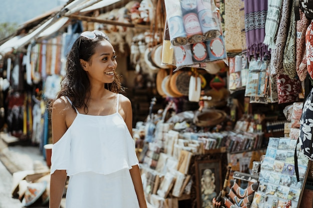 Tourist looking at the souvenir shop