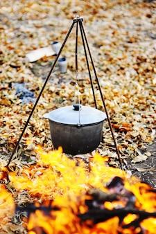 Tourist pot on fire