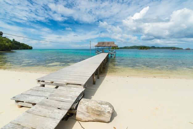観光リゾートとインドネシアの熱帯のビーチの桟橋