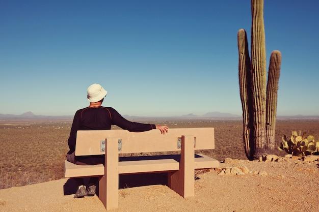 Tourist in saguaro national park