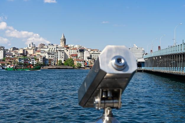 Tourist sightseeing binoculars and panoramic view to galata tower