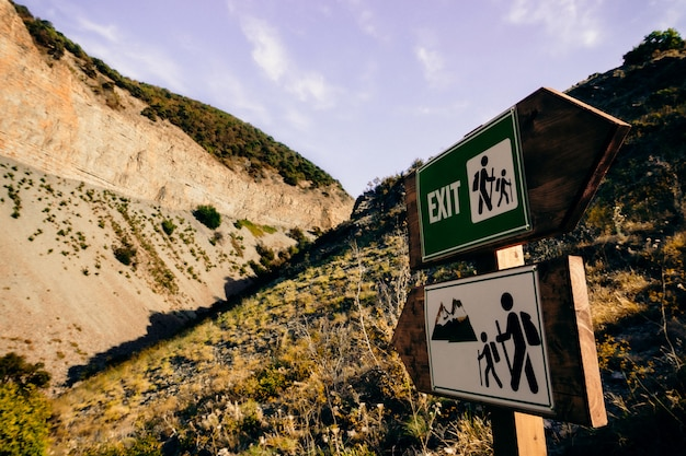 Tourist signs on the route in the mountains
