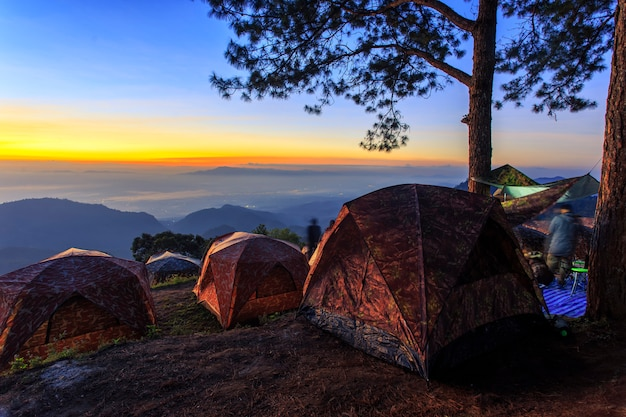 Tourist tent at the landscape of sunrise.