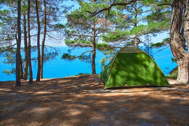 Туристическая палатка стоит в сосновом лесу на скале у моря