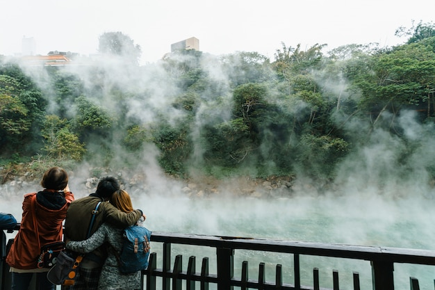 Tourist travel in the beitou thermal valley in beitou park in taipei city