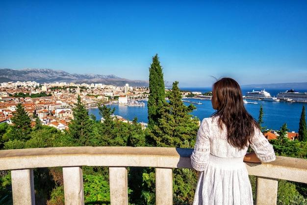 Tourist travel in split in dalmatia, croatia.