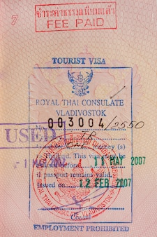 Tourist visa as a background.