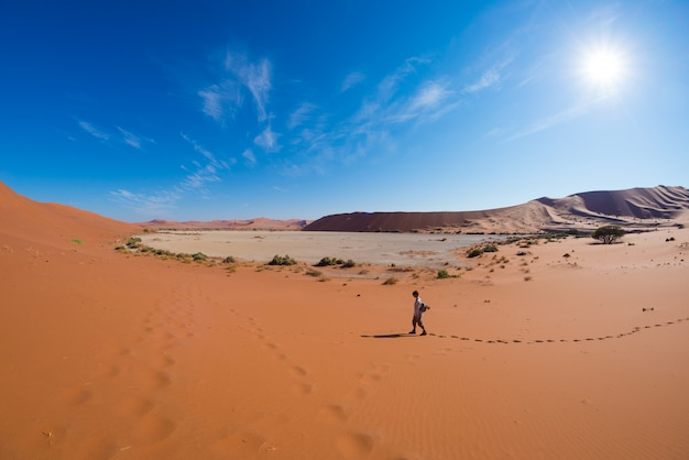 Tourist walking on the scenic dunes of sossusvlei