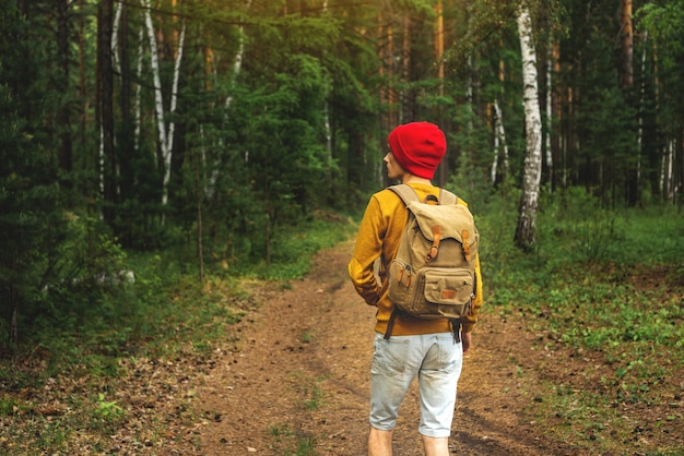 A tourist with a backpack and a red hat is walking in the dark forest among the trees
