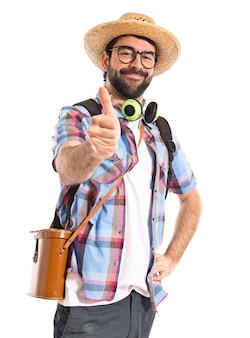 Tourist with thumb up