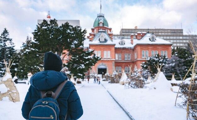 Tourist woman in winter season