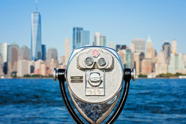 Touristic binocular on the panorama of new york city