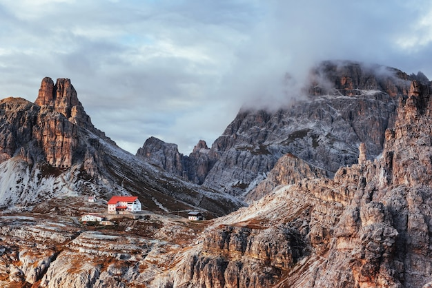 Touristic buildings waiting for the people who wants goes through these amazing dolomite mountains.