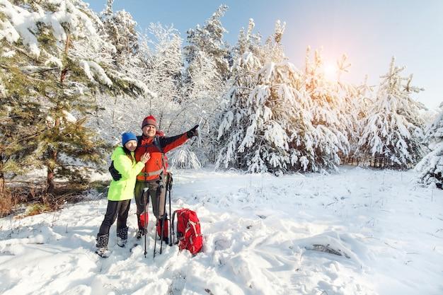 관광객들이 겨울 숲을 걷고 있다