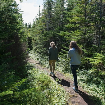 Tourists at james w. humber hiking trail, norris point, gros morne national park, newfoundland and l