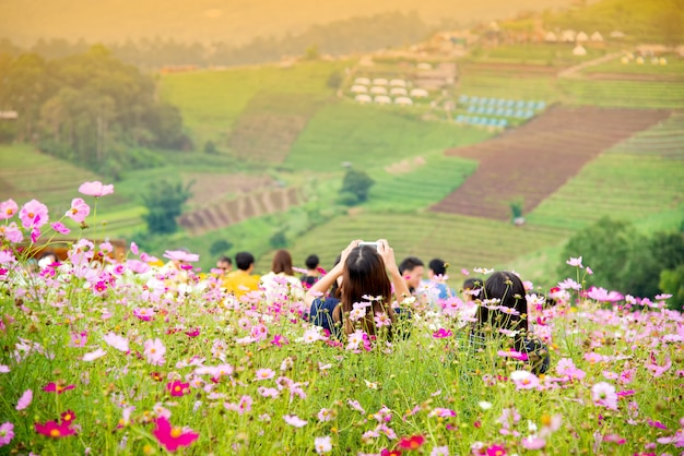 Tourists at the mon chaem mae rim  mountain flower garden in chiang mai