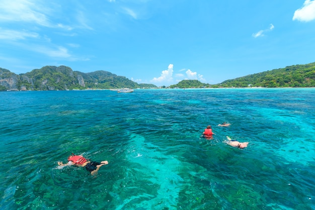 Tourists swimming and snorkeling in andaman sea at phi phi islands one of the most beautifull island