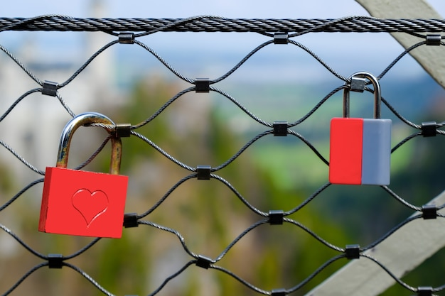 Tourists use the lock on the bridge rail as a symbol of stable and eternal love.