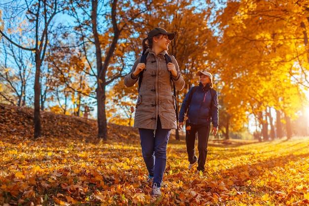 해질녘 가을 숲을 걷고 있는 배낭을 메고 있는 관광객들. 어머니와 함께 여행하는 그녀의 성인 딸