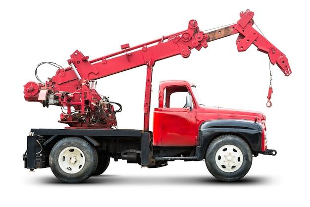 흰색에 고립 된 교통 오류 및 긴급 자동차 견인 트럭