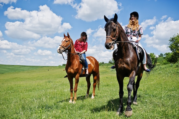 Tow young pretty girls riding a horses on a field at sunny day