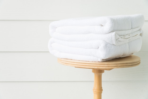 Towel bath on wood table