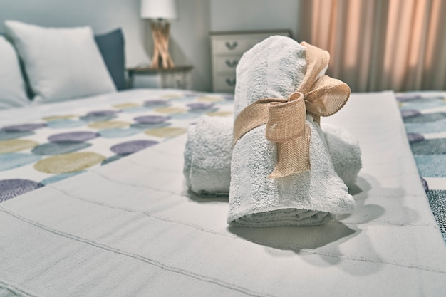 Towel on a bed detail