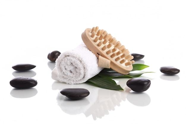 Towel and brush with zen stones