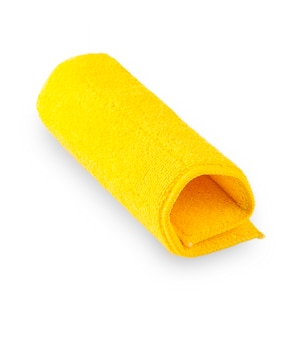 Towel color yellow isolated on white background. this has clipping path.