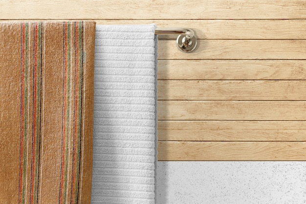 Towel hanging in bathroom, home textile
