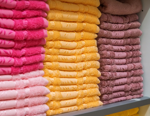 Towels on the shelf in the store.