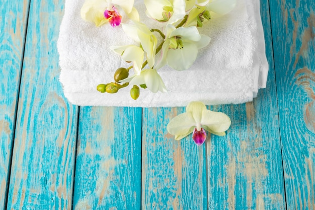 Towels with orchid flower