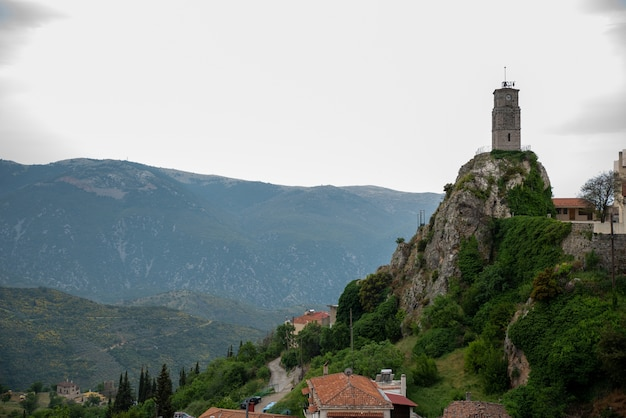 Tower in the arachova mountain town in greece