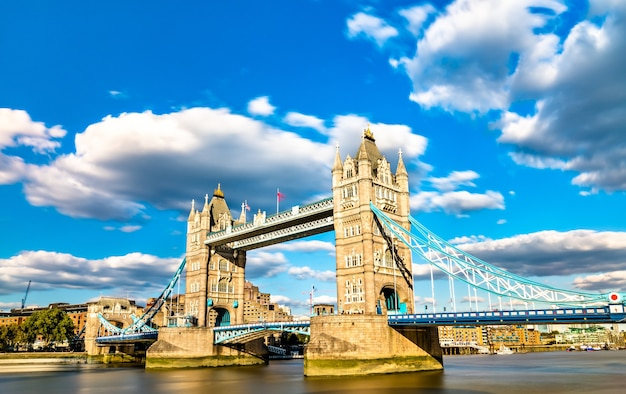 Tower bridge across the thames river in london, england