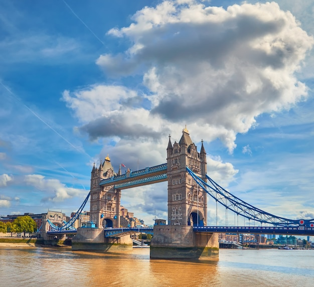 Tower bridge on a bright sunny day in summer, panoramic image