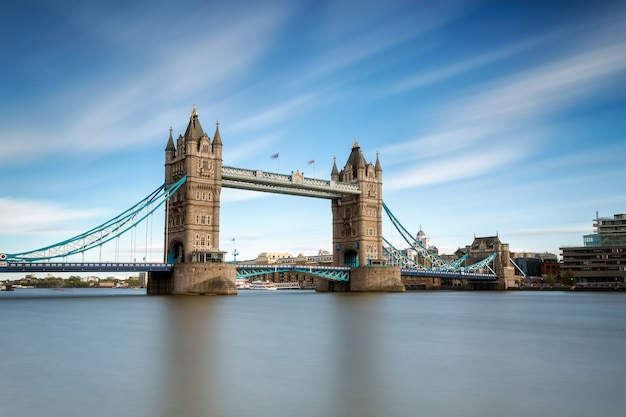 Tower bridge in broad daylight on the thames in london