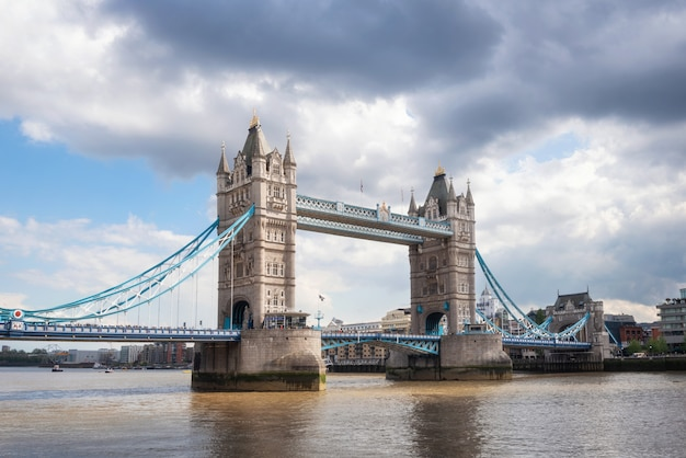 Tower bridge in london on a beautiful sunny day.