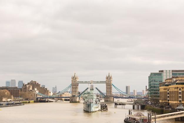 Tower bridge in london with drawbridge open