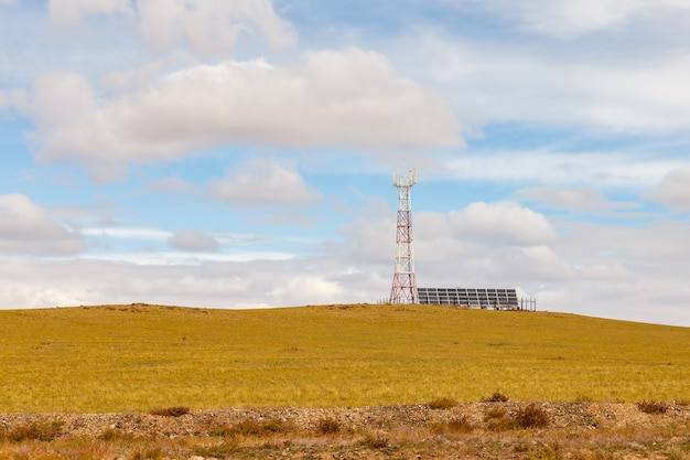 Tower of cellular communication with solar panels