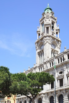 Tower of city hall in porto, portugal