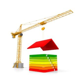 エネルギー効率の高い白い背景の上のタワークレーンとシンプルな家。 3dレンダリング