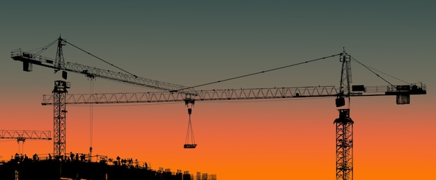 タワークレーンと日没時の労働者との建物のシルエット