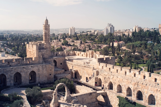 Tower of david is so named because byzantine christians believed the site to be the palace of king david. the current structure dates from the 1600's. jerusalem, israel.